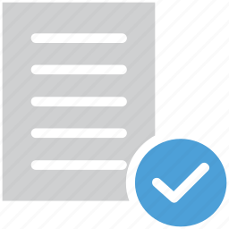 check mark, checked, document, file icon