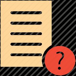 document, question mark, unchecked, unread icon