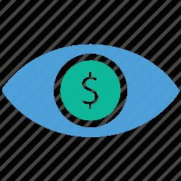 businessman, dollar sign, eye, seo icon