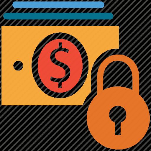 currency, dollars flow, lock sign, money saving icon