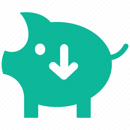 decreasing, down arrow, piggy, piggy bank icon
