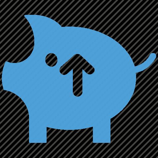 increasing, piggy, piggy bank, up arrow icon
