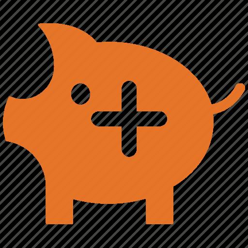add sign, piggy, piggy bank, saving icon