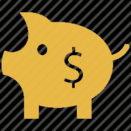 dollar sign, finance, piggy bank, saving icon