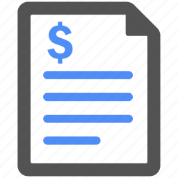 bill, billing, blue, finance, invoice, payment icon