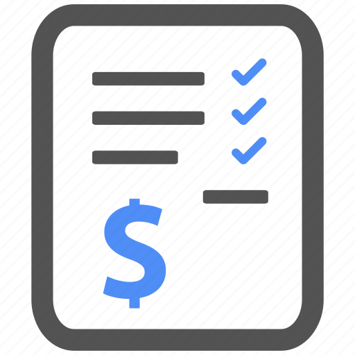 bill, billing, blue, check, finance, invoice, payment icon