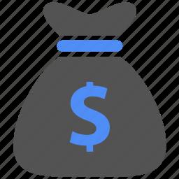bag, blue, cash, coins, dollar, finance, money icon