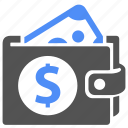 blue, cash, dollar, finance, money, pay, wallet icon