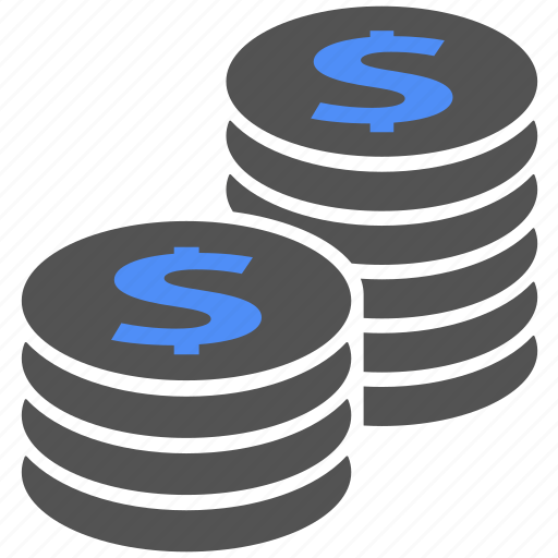 blue, cash, coin, coins, money, saving icon