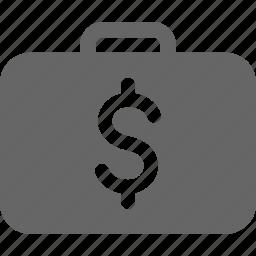 briefcase, business, dollar, finance, money, suitcase icon