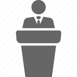 businessman, conference, interview, lecture, podium, speech icon