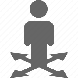 arrow, arrows, business, decide, direction, man, select icon