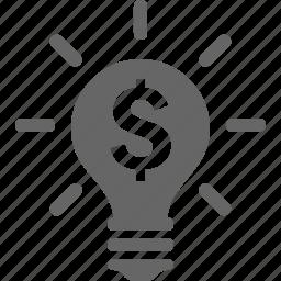 bulb, creative, idea, lamp, light, money, new icon