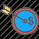 achieved, arrow, goals, profit, target