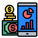 graph, money, report, financial, mobilephone icon