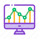 computer, financial, graph, monitor icon