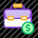 bag, case, coin, dollar, suitcase icon