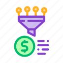 financial, funnel, gathering, information icon