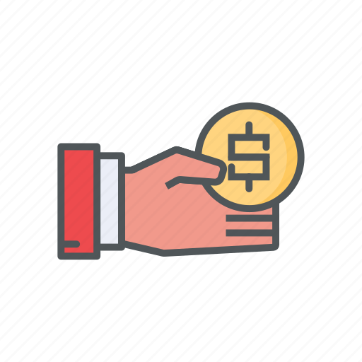bonus, coin, filled, financial, income, outline icon