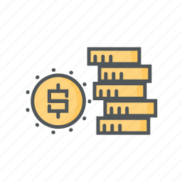 coin, filled, financial, fund, money, outline icon