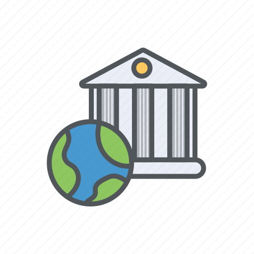 bank, everywhere, filled, financial, outline, service, worldwide icon