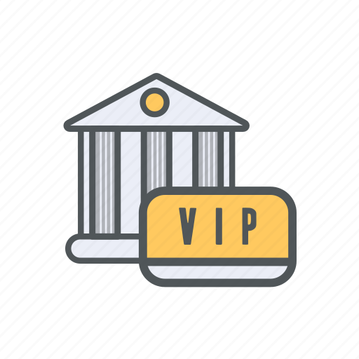 bank, filled, financial, membership, outline, safety, vip icon