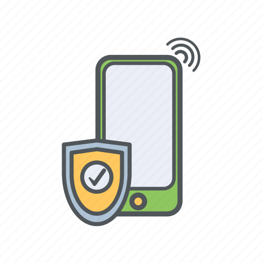 banking, filled, financial, mobile, outline, protection, safety icon