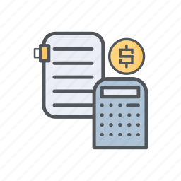 accounting, calculator, filled, financial, letter, outline icon