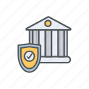 bank, filled, financial, outline, protection, safety, transfer icon