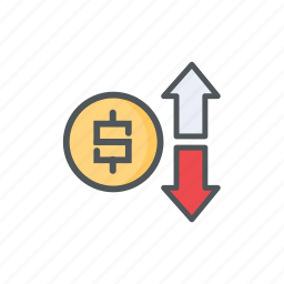 bearish, bullish, exchange, filled, financial, forex, outline icon