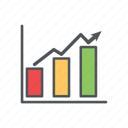 bar, chart, filled, financial, outline, trend icon