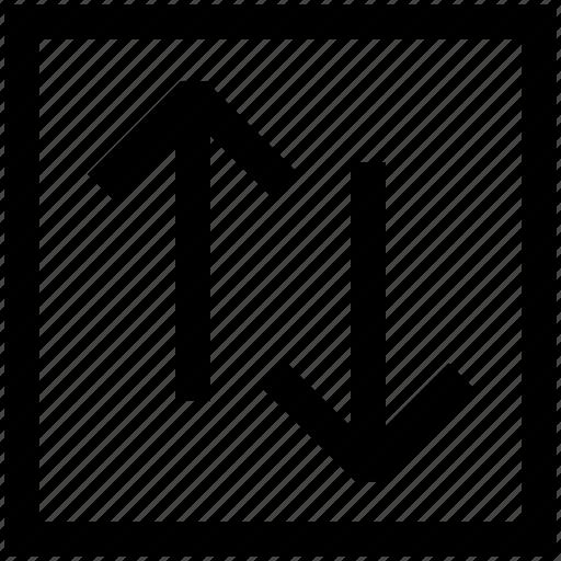development, down, exchange, movement, transaction, up, vertical icon