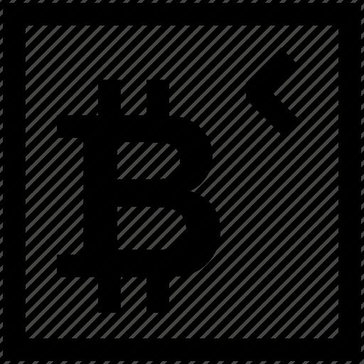 arrow left, bitcoin, crypto, low amount, move left icon