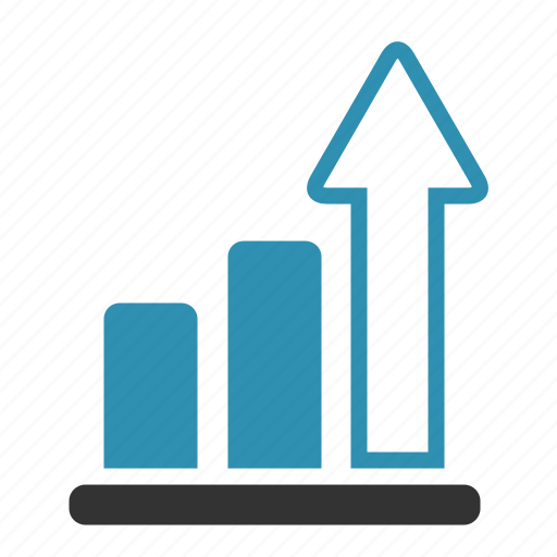 arrow, chart, growth, progress, statistics icon