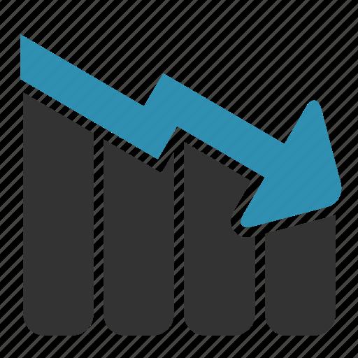 arrow, bars, chart, down, statistics icon