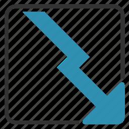 arrow, chart, down, loss icon