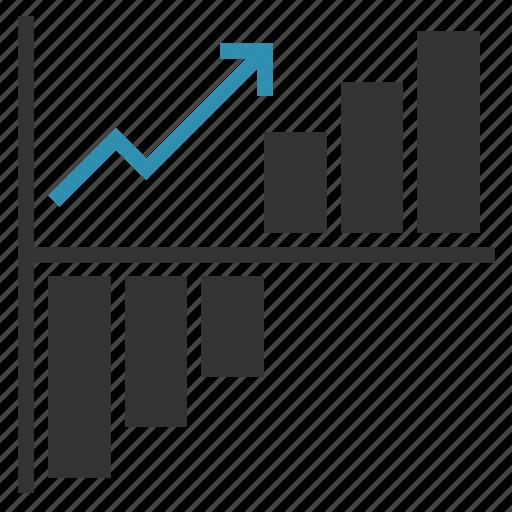 arrow, chart, growth, progress, up icon