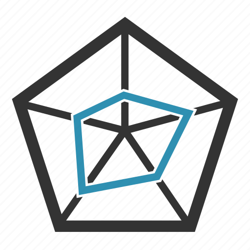 analytics, chart, pentagon, report, statistics icon