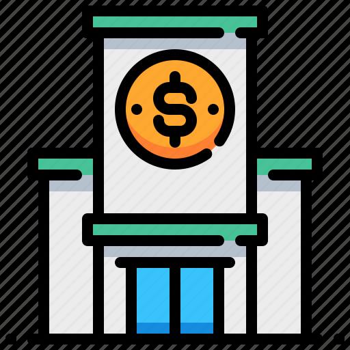 bank, banking, dollar, financial, institution, money icon