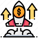 goal, growth, launch, rocket, startup, strategy icon