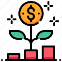 analysis, currency, flower, graph, growth, money icon