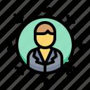 arrow, businessman, focus, human, target icon