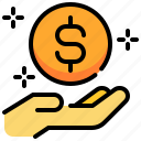 coin, currency, hand, loan, money, personal icon