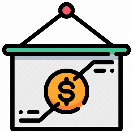 analysis, coin, currency, money, present, presentation icon