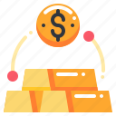 coin, currency, dollar, equity, exchange, gold, money icon