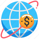 currency, dollar, earth, global, money, worldwide icon