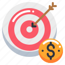 arrow, coin, currency, money, target icon
