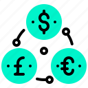 coin, currency, dollar, euro, exchange, money icon