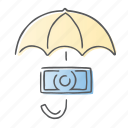 cash, finance, protect, security, umbrella icon