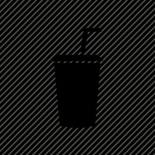 coffe, cold, cup, glash, paper, straw, turn icon